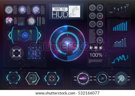 Hud background outer space infographic elementsdigital for Outer space elements