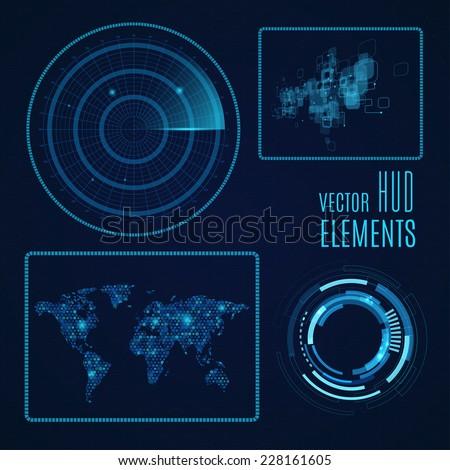 Hud elements. Radar screen. Futuristic user interface. Vector EPS10. - stock vector