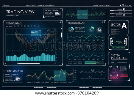 HUD UI for business app. Futuristic user interface HUD and Infographic elements. Abstract virtual graphic touch user interface. UI hud infographic interface screen monitor radar set web elements - stock vector