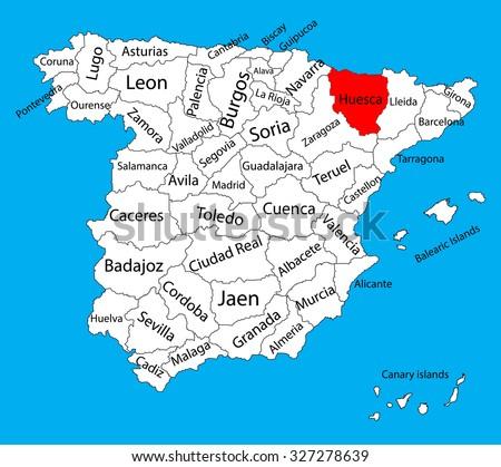 Huesca map, Spain province ...