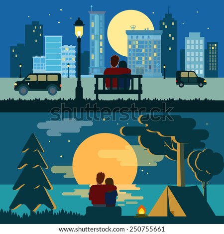 Hug cuddle couple romance love dating flat night city and outdoor landscape romance concept vector template. Creative romantic people collection. - stock vector