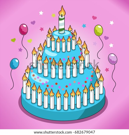 Huge Birthday Cake Turquoise Icing Candy Stock Vector 682679047