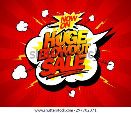 Huge blowout sale vector pop-art banner - stock vector