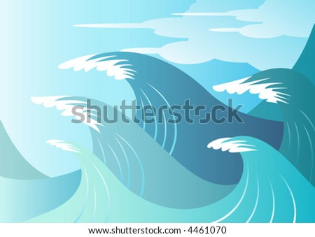 Huge blue surf waves about to break