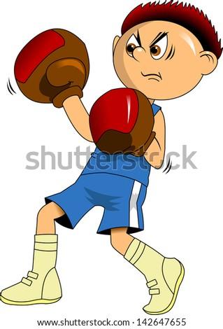 huge boxer in blue boxing gloves, illustration - stock vector