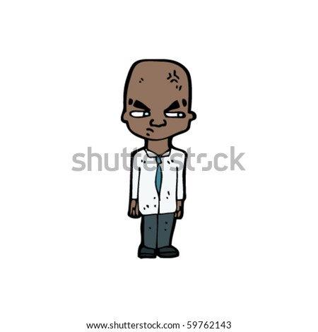 huge brain man cartoon - stock vector