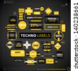 Huge collection of different labels and badges in techno style. EPS10. - stock photo