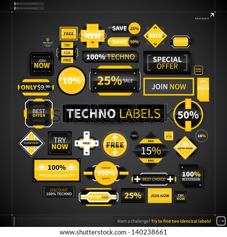 Huge collection of different labels and badges in techno style. EPS10. - stock vector