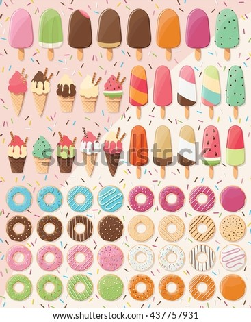 Huge collection of 28 ice creams and 32 donuts, delicious and tasty summer treats, vector illustration - stock vector