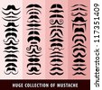 Huge collection of mustache. - stock vector