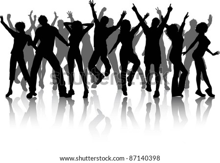 Huge collection of party people dancing - stock vector