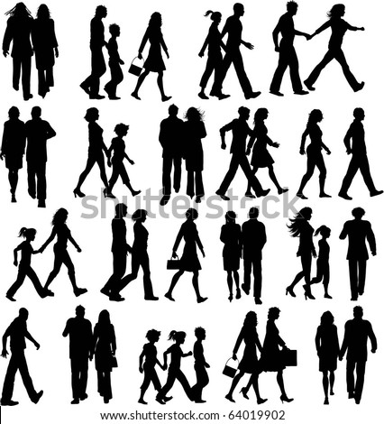 Huge collection of silhouettes of people walking - stock vector