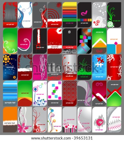 Huge different themed business card set - stock vector