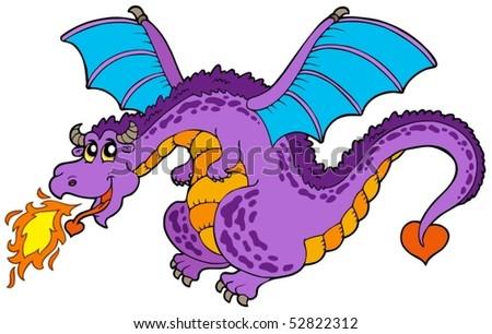 Huge flying dragon - vector illustration. - stock vector