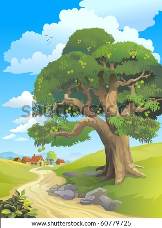 HUGE MANGO-TREE WITH MANGOES BY VILLAGE   ROAD - stock vector