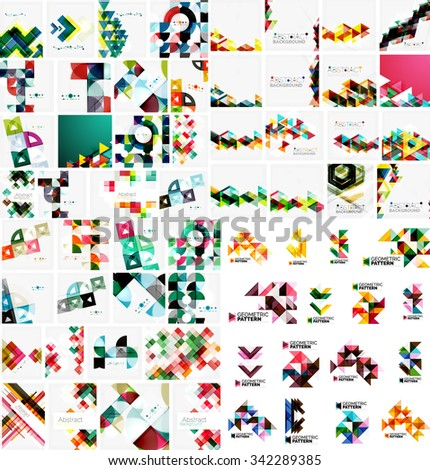 Huge mega collection of abstract geometric paper graphic layouts. Universal backgrounds, presentation templates or web covers. Vector illustration - stock vector