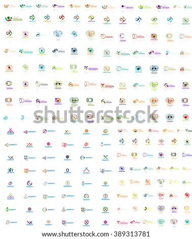 Huge mega collection of abstract logos. Linear logotypes made of overlapping multicolored segments of lines. Universal business icons, symbols for branding design - stock vector