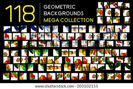 Huge mega collection of 118 geometric shape abstract backgrounds. Templates made of semicircles pieces in glossy style - stock vector