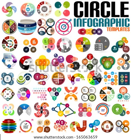 Huge modern circle infographic design template set. For banners, business backgrounds, presenations - stock vector