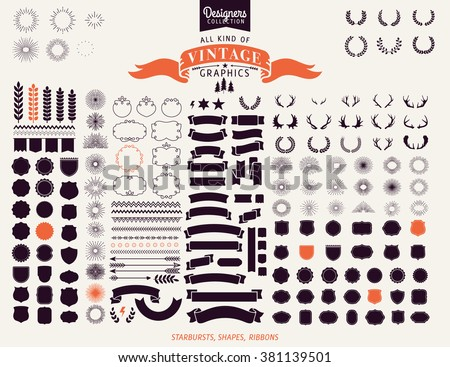 Huge Premium design elements. Great for retro vintage logos. Starbursts, frames and ribbons Designers Collection - stock vector