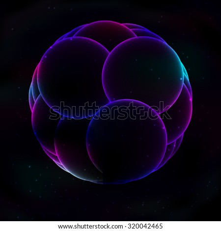 Huge round transparent soap glowing purple bubble, consisting of several on the background space in retro style. All isolated - stock vector