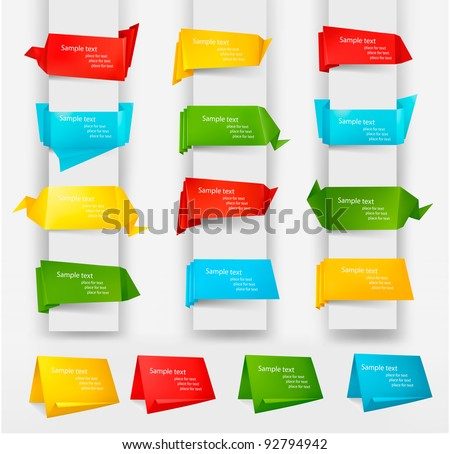Huge set of colorful origami paper banners. Vector illustration. - stock vector