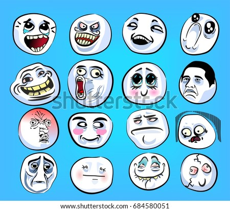 stock vector huge set of emotional stickers with internet memes for everyday expressions in social media chat 684580051 meme stock images, royalty free images & vectors shutterstock