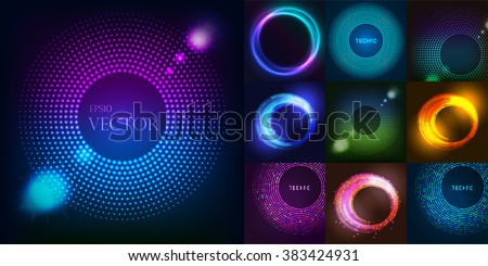 Huge set of glowing rounds with glitter. Abstract colored shape for your business idea vector editable logotypes background illustration. - stock vector