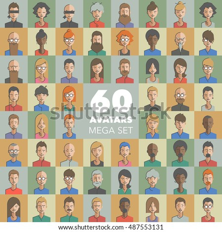 Huge set of male and female character faces avatars. Different faces, colors, hairs, accessories. Flat style with thin line icons. Modern vector illustration.