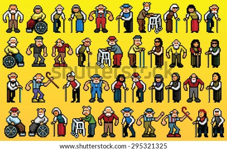 huge set of senior old people avatars - pixel art isolated layers vector illustration