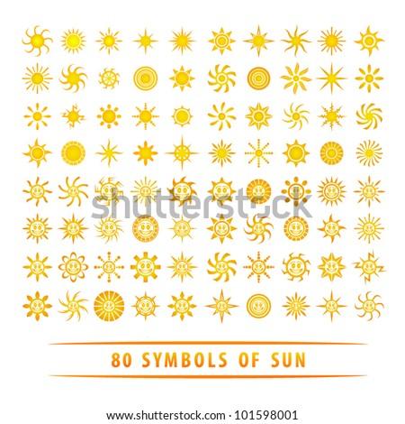 Huge set of sun symbols. - stock vector
