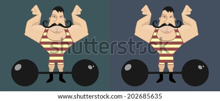 Huge, strong circus athlete with dark twirled mustaches showing of his strength - stock vector