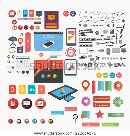 Huge web graphic collection including web template - stock vector