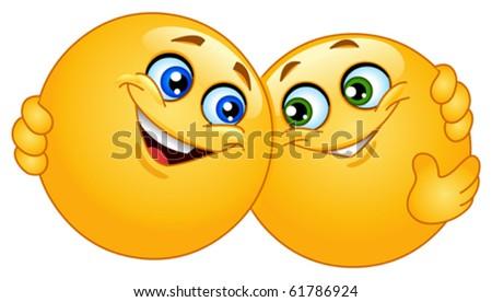 Hugging emoticons - stock vector