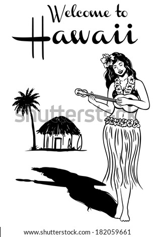 Hula girl playing ukulele, vector - stock vector
