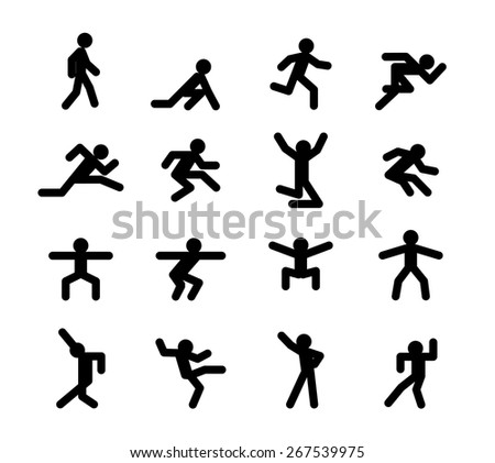 Human action poses. Running and walking, jumping and squatting, dancing, athletics, start and acceleration, jog, vector illustration