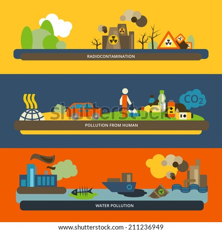 Human activities radioactive hazardous water and air pollution icons horizontal flat banners set composition isolated vector illustration - stock vector