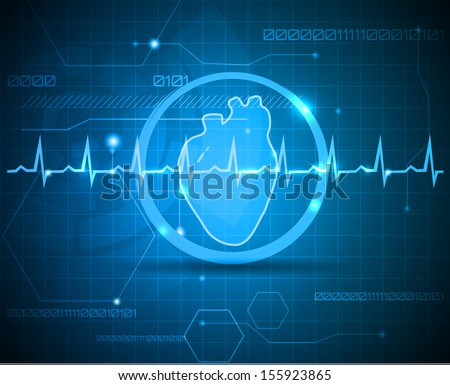 Human anatomy of heart. Abstract medical background. Beautiful bright color. - stock vector