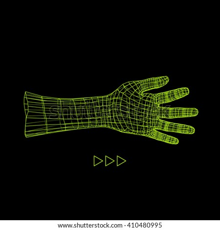 Human Arm. Hand Model. 3d Covering Skin. Vector Illustration. Polygonal Design. Can be used for Science, Technology, Medicine, Hi-Tech, Sci-Fi. - stock vector