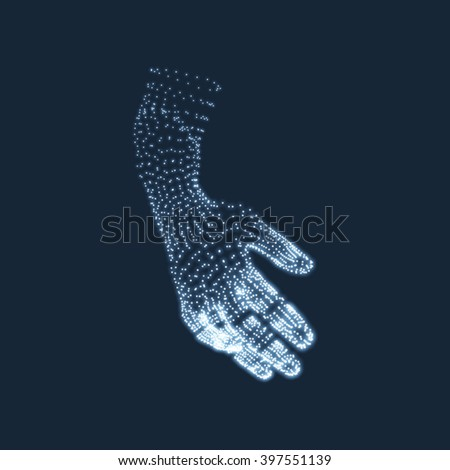 Human Arm. Human Hand Model. Hand Scanning. View of Human Hand. 3D Geometric Design. 3d Covering Skin. Can be used for Science, Technology, Medicine, Hi-Tech, Sci-Fi. - stock vector