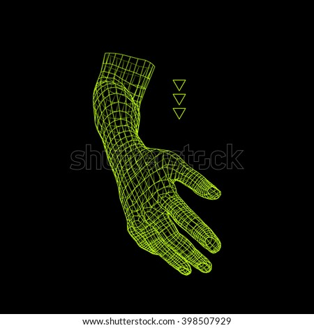 Human Arm. Human Hand Model. Hand Scanning. View of Human Hand. 3D Geometric Design. 3d Covering Skin. Polygonal Design. Can be used for science, technology, medicine, hi-tech, sci-fi. - stock vector