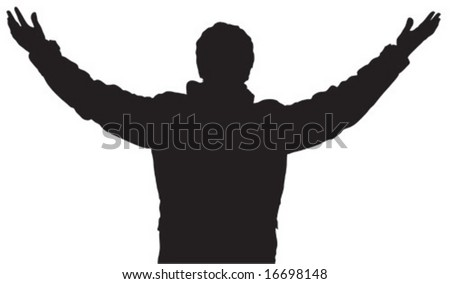Human black and white silhouette with wide arms - stock vector
