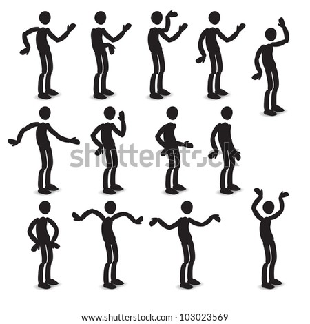 Human body in different poses set - stock vector