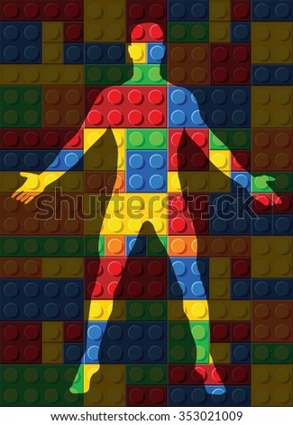 human body - seamless vector pattern of plastic parts - stock vector