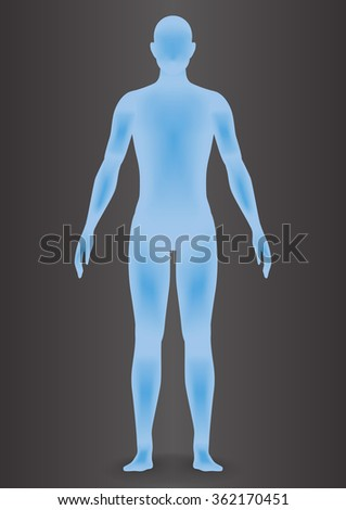 human body silhouette, vector illustration - stock vector