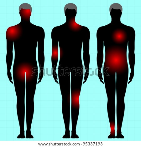 human body with area of pain - stock vector