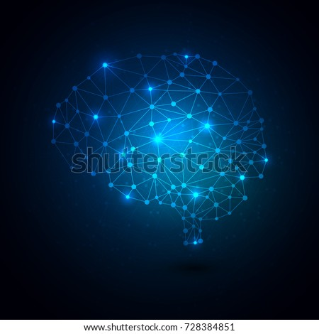 Human brain abstract global technology with blue background. Vector illustration of geometric connecting dots brain.