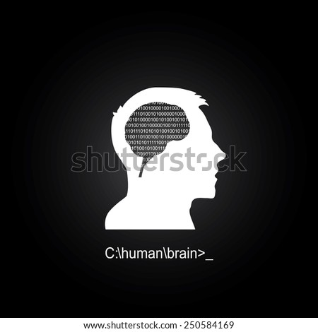 Human brain as a computer - stock vector