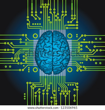 Human brain as computer central processor. EPS 8, CMYK - stock vector