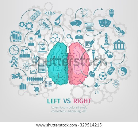 Human brain concept with left and right hemispheres flat vector illustration - stock vector